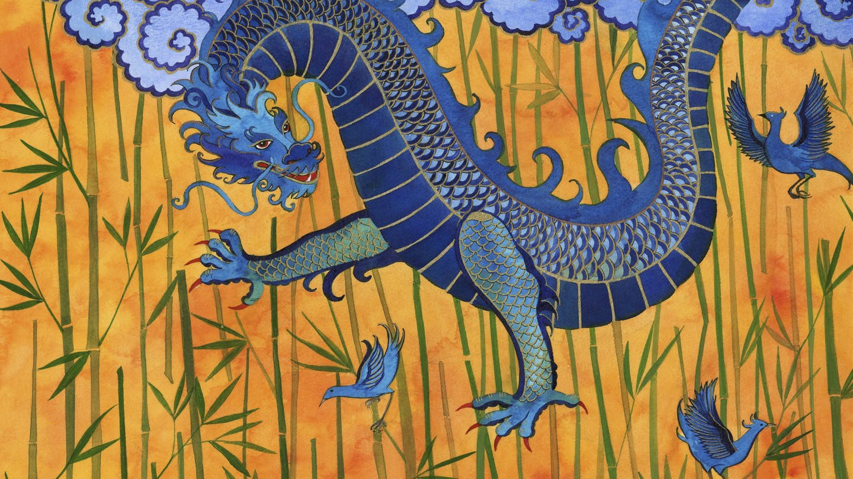Chinesischer Drache mit blauen Vögeln und Bambus