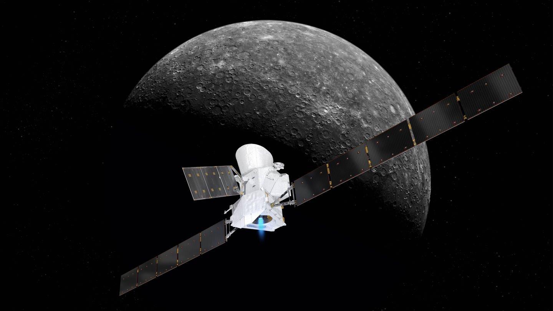 Die Sonde BepiColombo wird auf ihrem Weg zum Merkur zweimal vom Saturn abgebremst. (Hier zu sehen: Eine künsterische Darstellung der Sonde mit Merkur im Hintergrund)