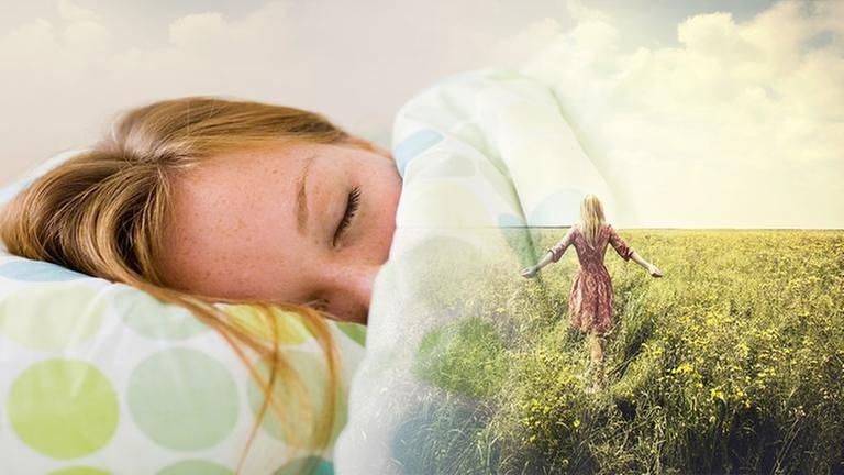 Eine junge Frau schläft und träumt. (Foto: Getty Images, Thinkstock - SWR Montage)