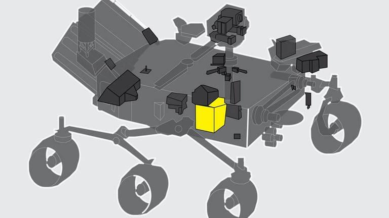 Moxie ist im Mars-Rover Perseverance integriert. Das Gerät muss gut isoliert sein, weil bei der Sauerstofferzeugung sehr hohe Temperaturen entstehen können. (Foto: Pressestelle, NASA)