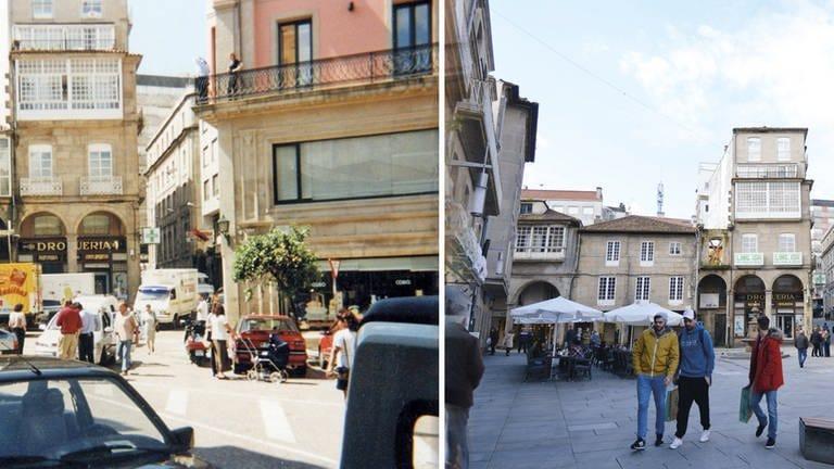 Die City der spanischen Stadt Pontevedra vor 20 Jahren voller Autos und heute autofrei (Foto: dpa Bildfunk, picture alliance/Rathaus Pontevedra/dpa)